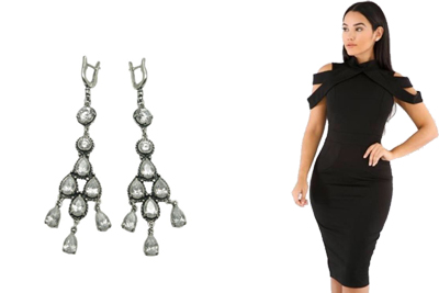 Фото Серьги из серебра под черное платье